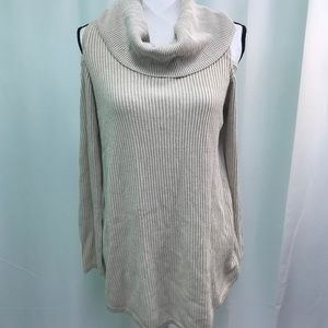 Beige Pullover Cowl Neck Cold Shoulder Top